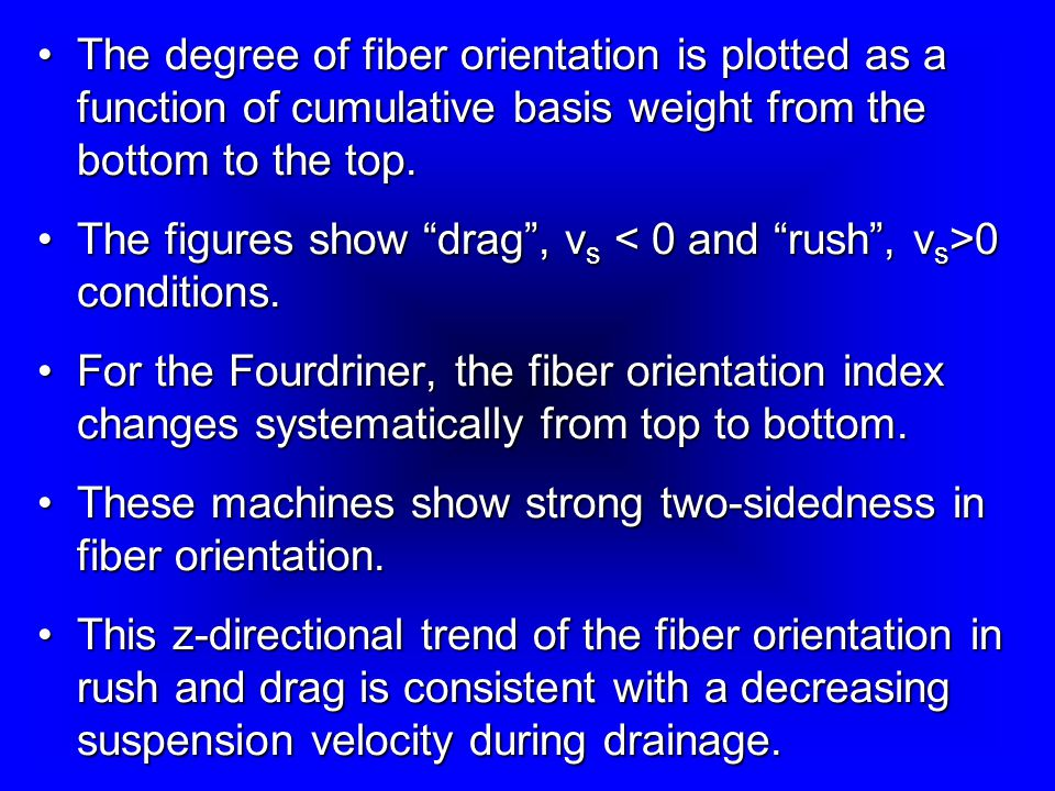 The degree of fiber orientation is plotted as a function of cumulative basis weight from the bottom to the top.