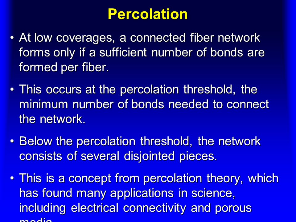 Percolation At low coverages, a connected fiber network forms only if a sufficient number of bonds are formed per fiber.