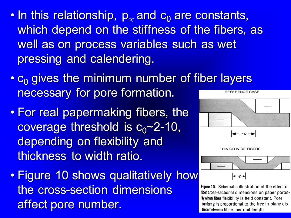 In this relationship, p¥ and c0 are constants, which depend on the stiffness of the fibers, as well as on process variables such as wet pressing and calendering.
