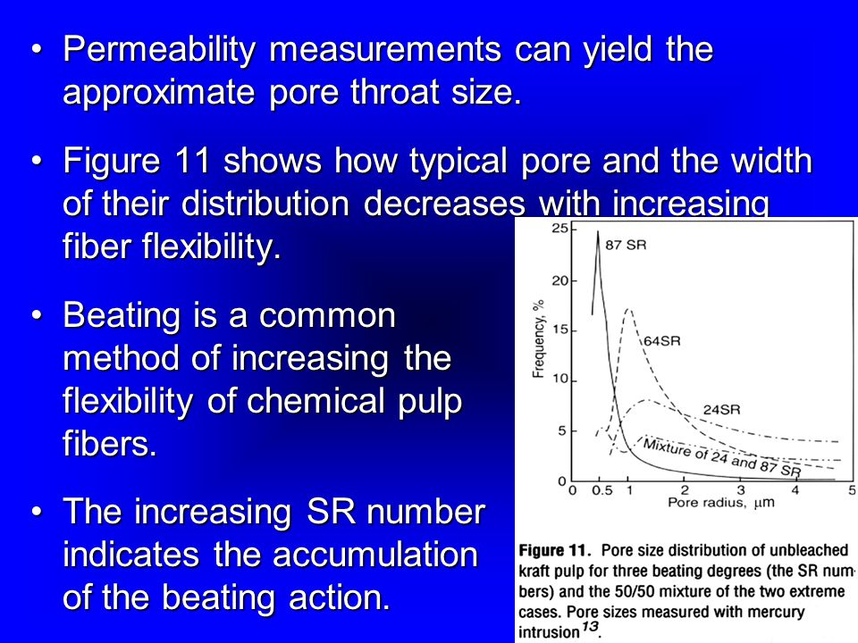 Permeability measurements can yield the approximate pore throat size.