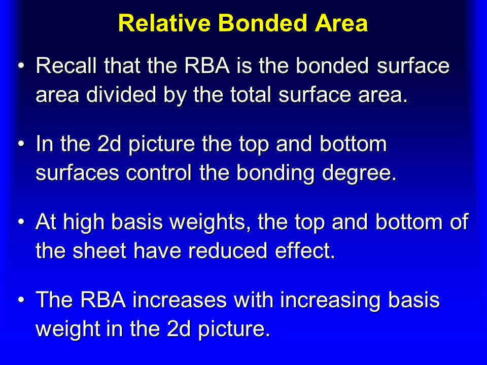 Relative Bonded Area Recall that the RBA is the bonded surface area divided by the total surface area.