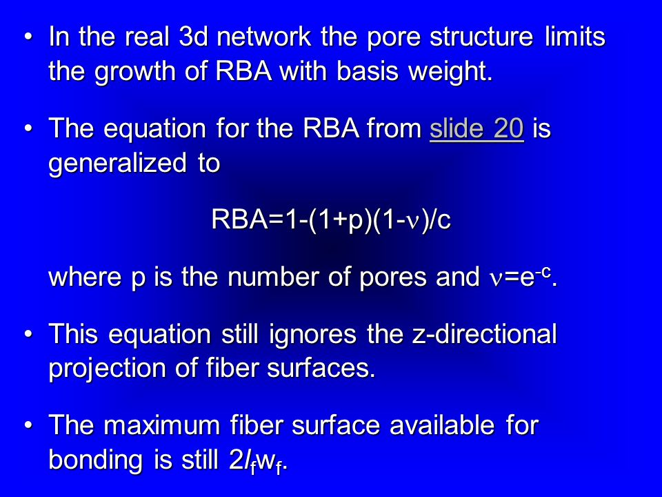 In the real 3d network the pore structure limits the growth of RBA with basis weight.