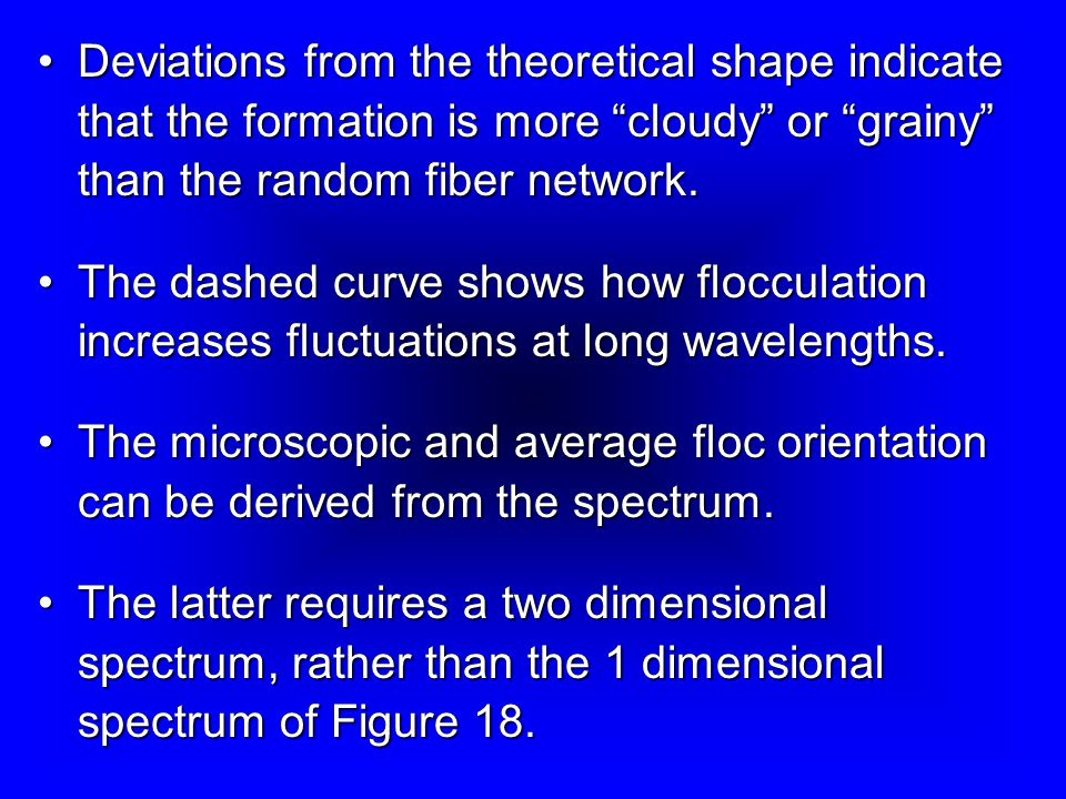 Deviations from the theoretical shape indicate that the formation is more cloudy or grainy than the random fiber network.