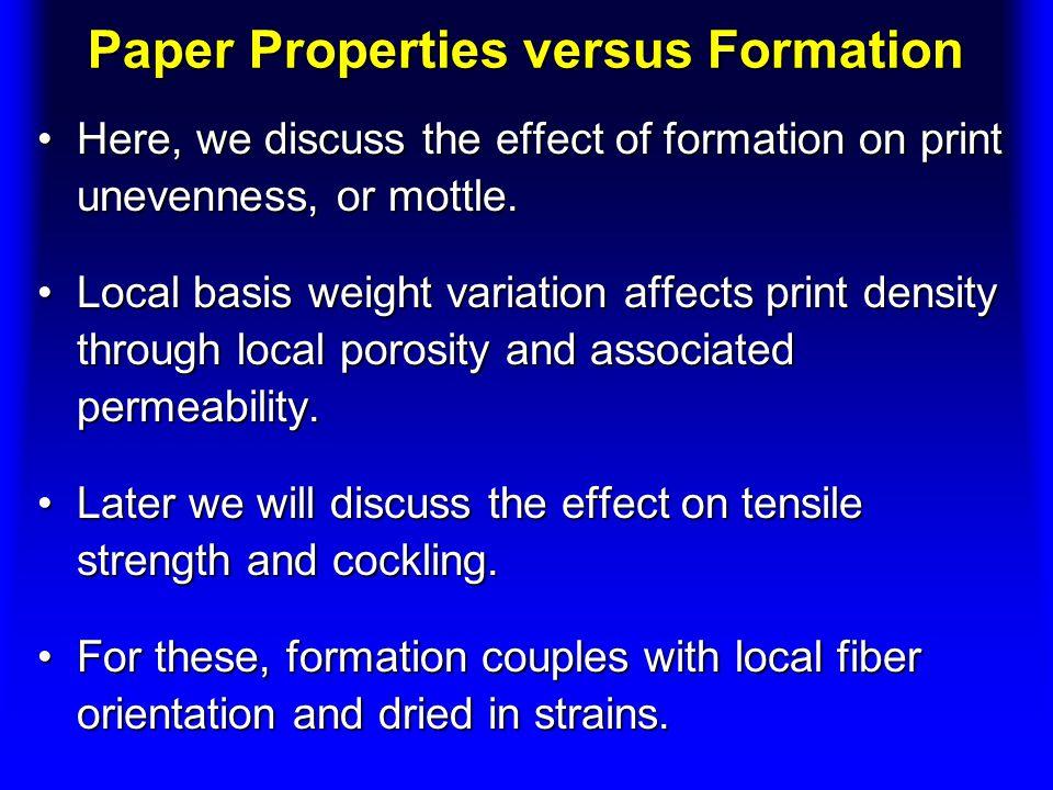 Paper Properties versus Formation