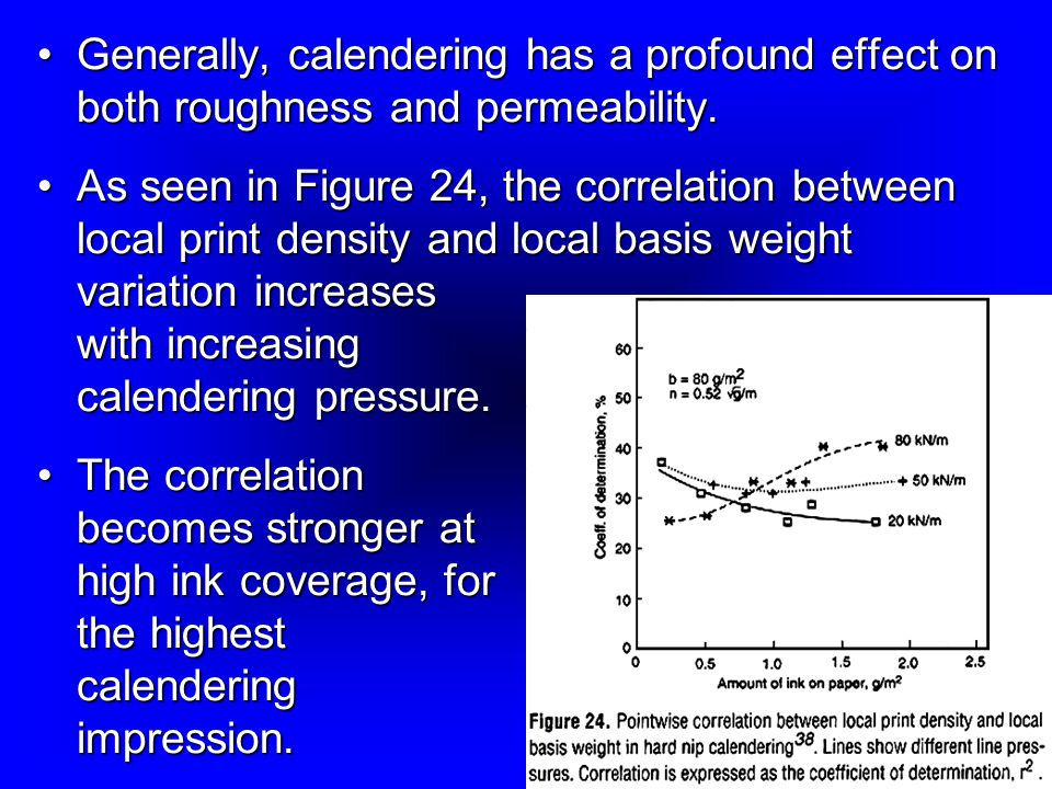 Generally, calendering has a profound effect on both roughness and permeability.
