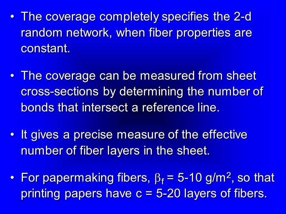The coverage completely specifies the 2-d random network, when fiber properties are constant.