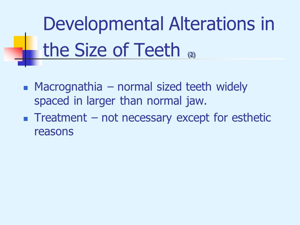 Developmental Alterations in the Size of Teeth (2)