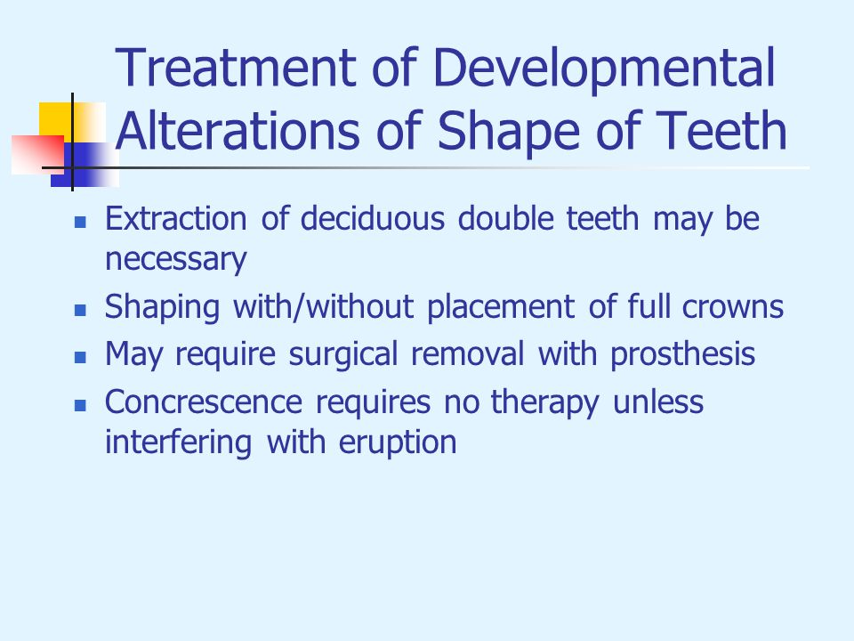 Treatment of Developmental Alterations of Shape of Teeth
