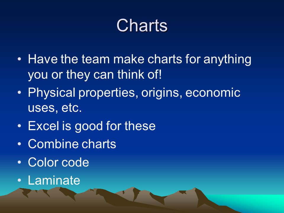 Charts Have the team make charts for anything you or they can think of! Physical properties, origins, economic uses, etc.