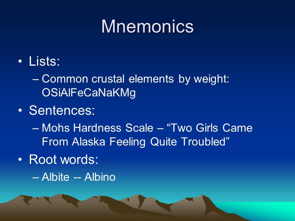 Mnemonics Lists: Sentences: Root words: