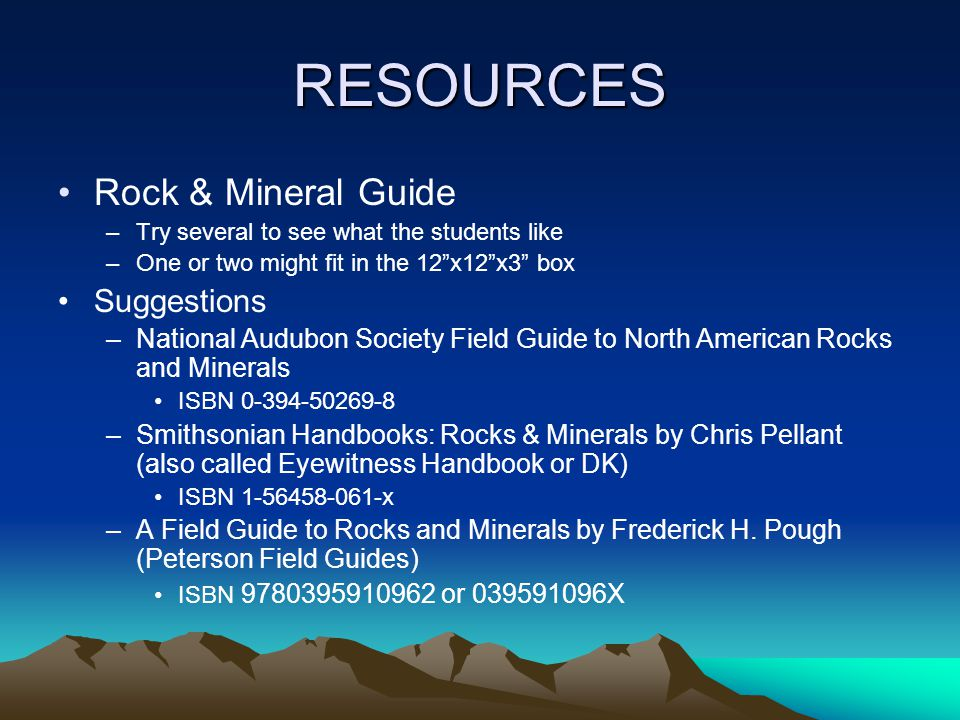 RESOURCES Rock & Mineral Guide Suggestions