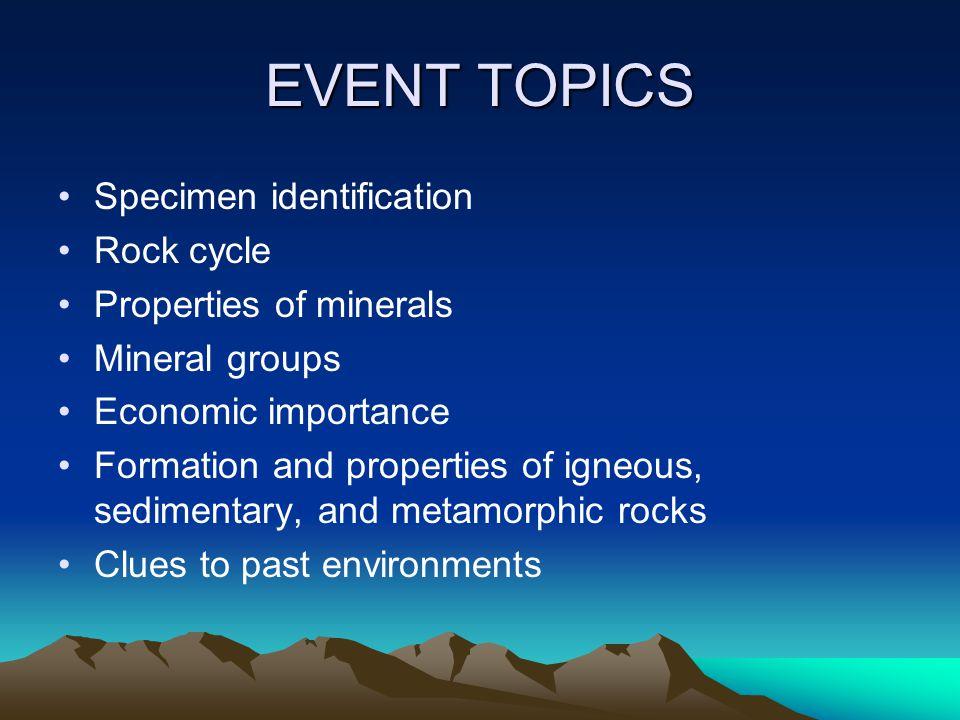 EVENT TOPICS Specimen identification Rock cycle Properties of minerals