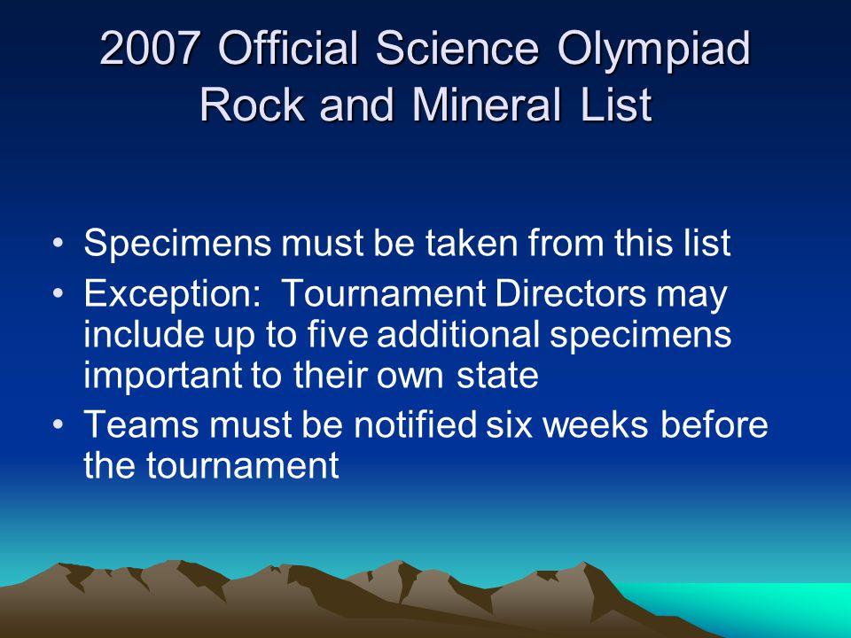 2007 Official Science Olympiad Rock and Mineral List