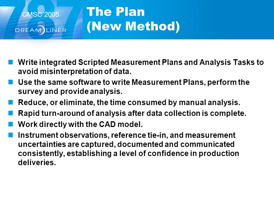 The Plan (New Method) Write integrated Scripted Measurement Plans and Analysis Tasks to avoid misinterpretation of data.
