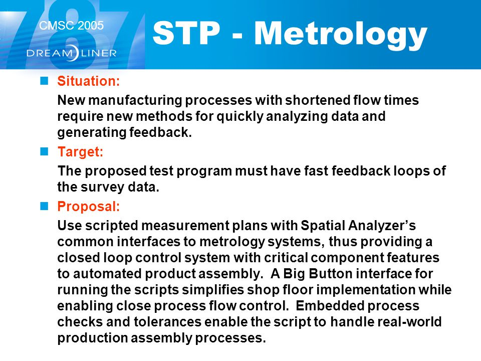 STP - Metrology Situation: