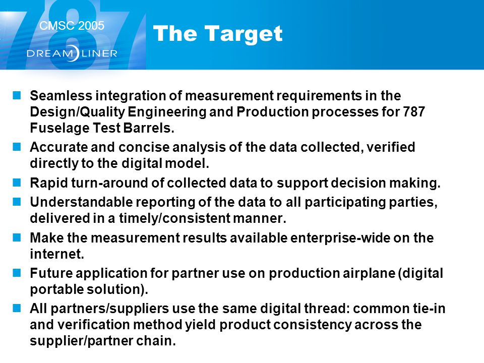 The Target Seamless integration of measurement requirements in the Design/Quality Engineering and Production processes for 787 Fuselage Test Barrels.