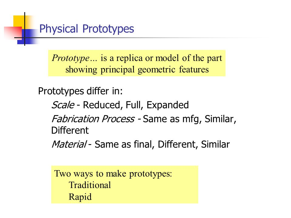 Physical Prototypes Prototype… is a replica or model of the part showing principal geometric features.