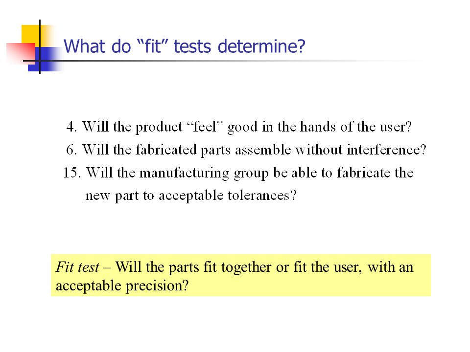 What do fit tests determine
