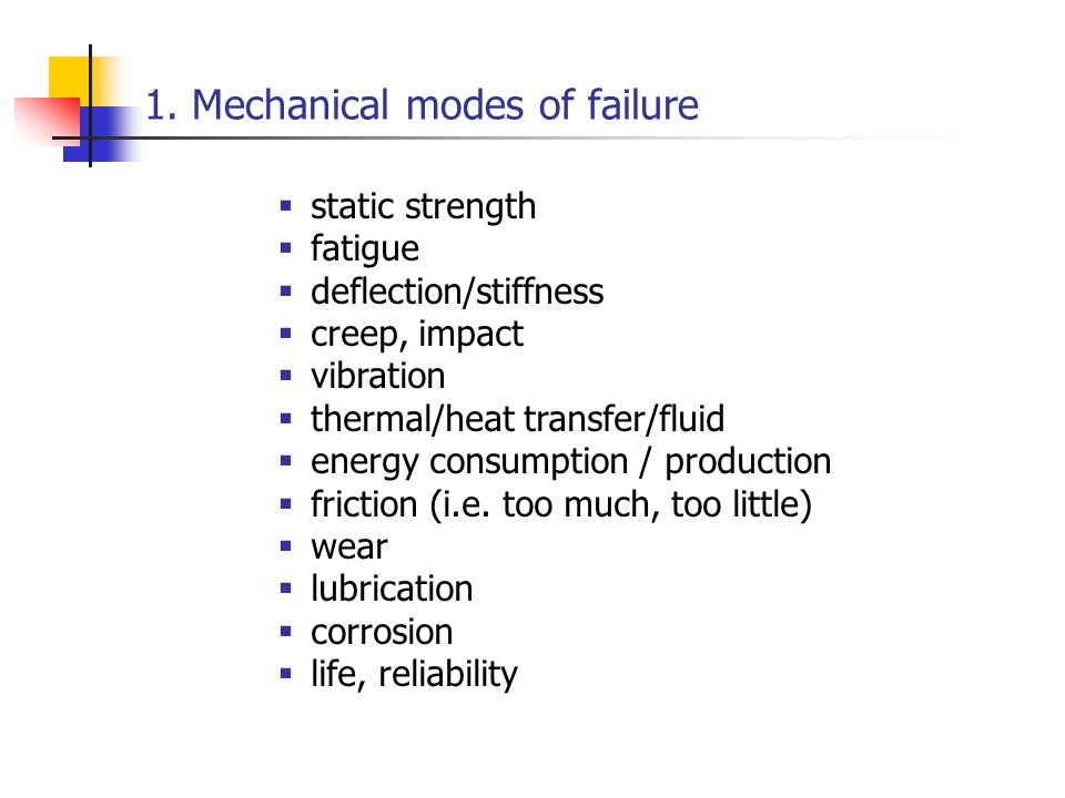 1. Mechanical modes of failure
