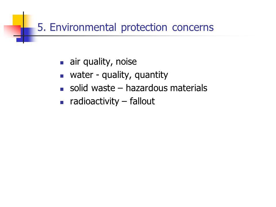 5. Environmental protection concerns