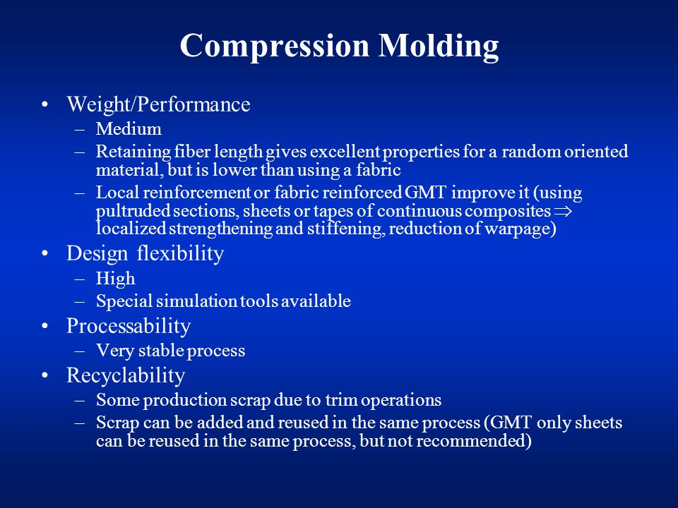 Compression Molding Weight/Performance Design flexibility