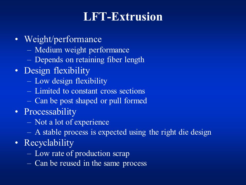 LFT-Extrusion Weight/performance Design flexibility Processability