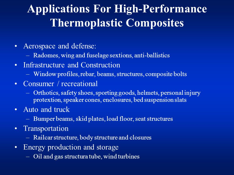 Applications For High-Performance Thermoplastic Composites