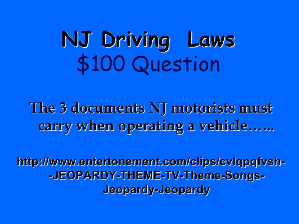 NJ Driving Laws $100 Question