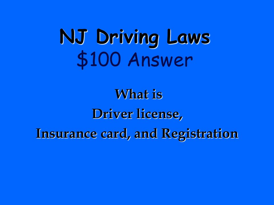 NJ Driving Laws $100 Answer