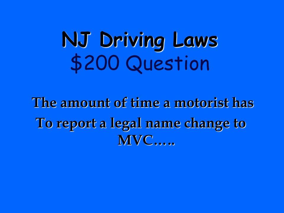 NJ Driving Laws $200 Question