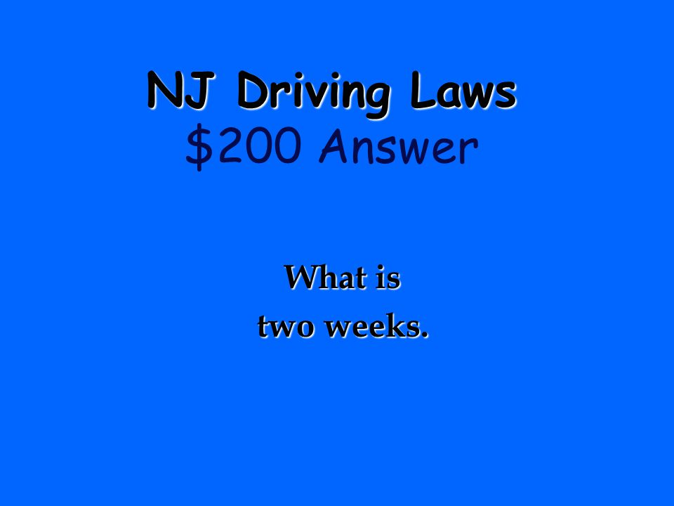 NJ Driving Laws $200 Answer