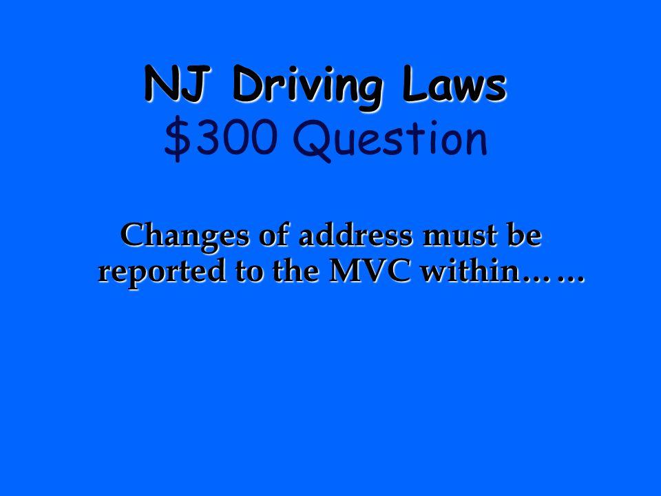 NJ Driving Laws $300 Question