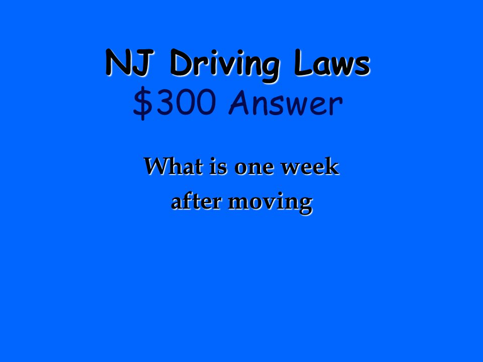 NJ Driving Laws $300 Answer