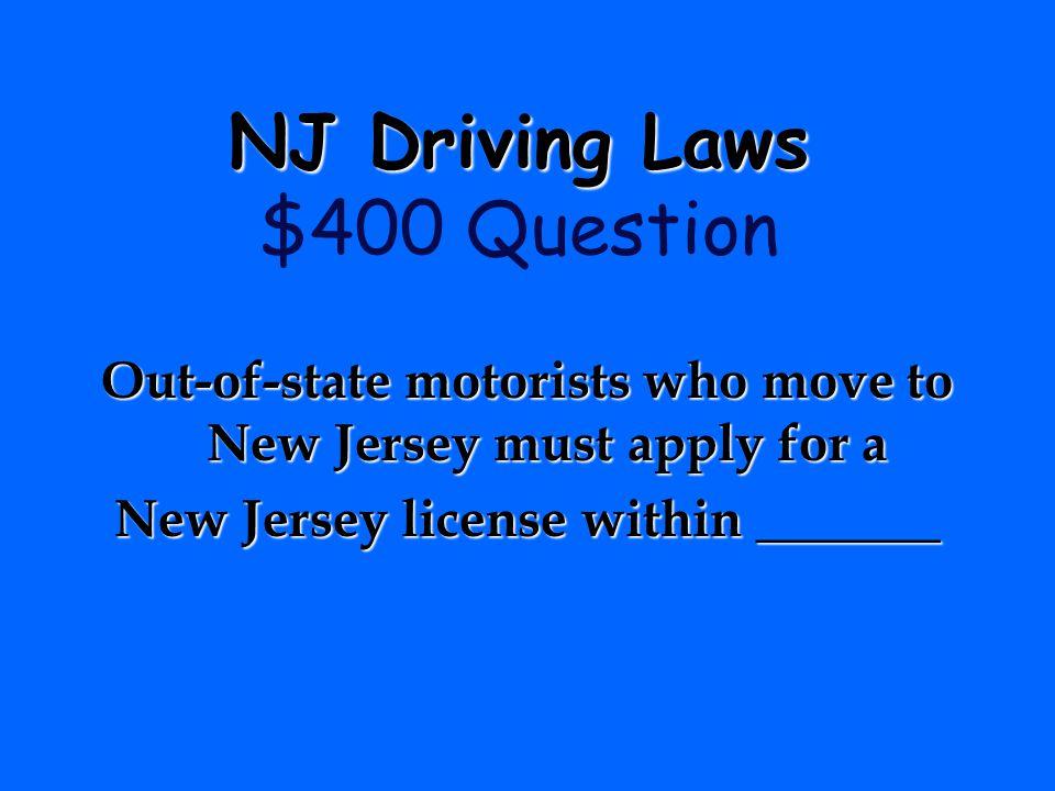 NJ Driving Laws $400 Question