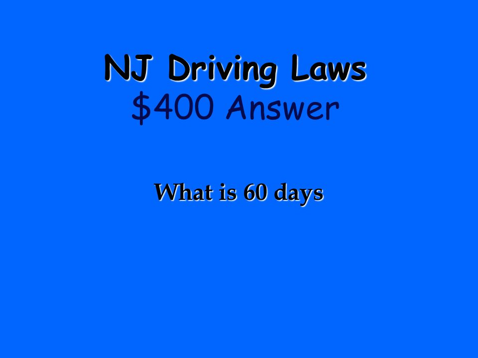 NJ Driving Laws $400 Answer
