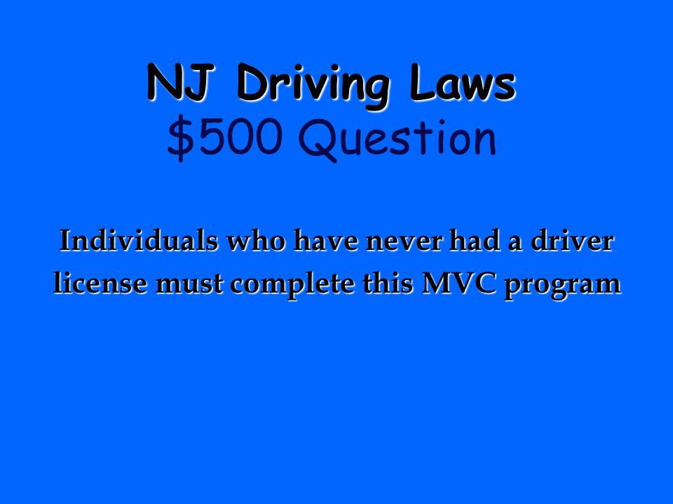 NJ Driving Laws $500 Question