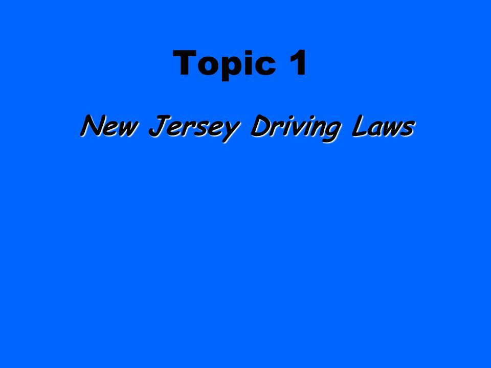 New Jersey Driving Laws