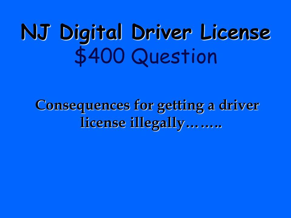 NJ Digital Driver License $400 Question