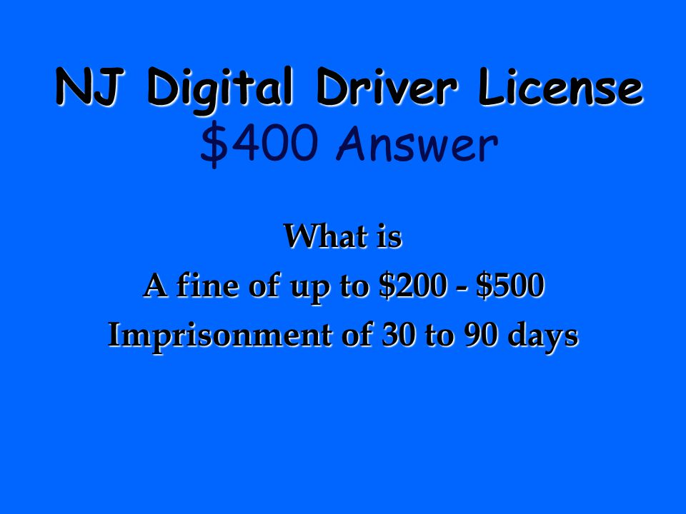 NJ Digital Driver License $400 Answer