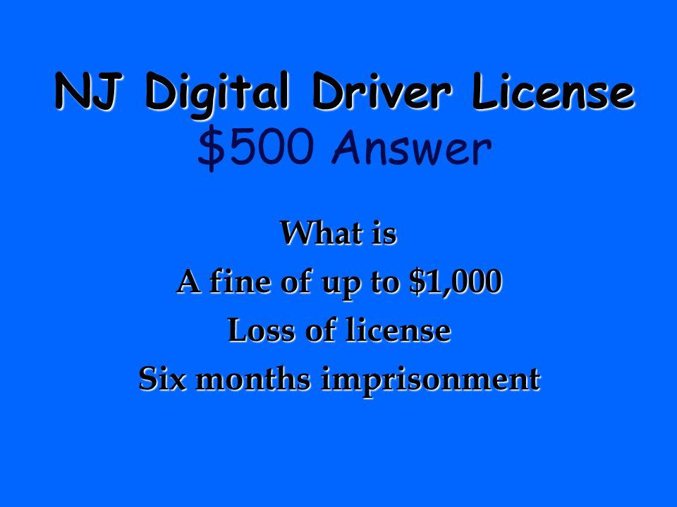 NJ Digital Driver License $500 Answer