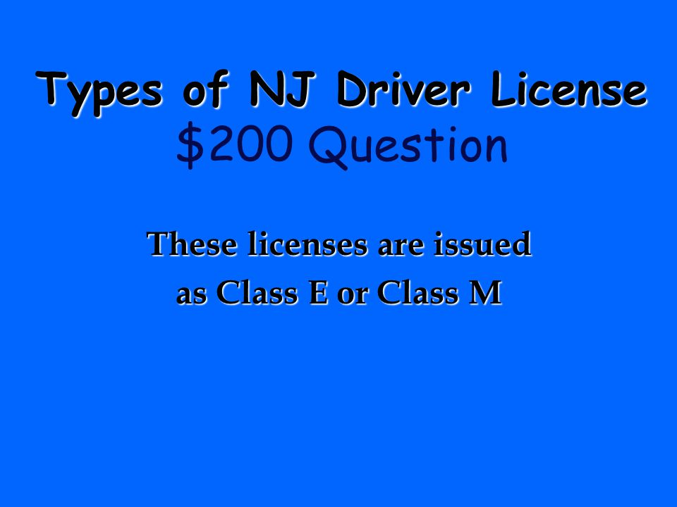 Types of NJ Driver License $200 Question