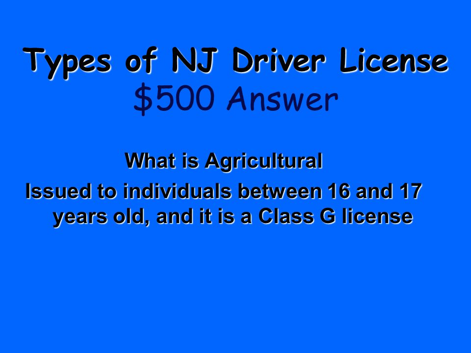 Types of NJ Driver License $500 Answer