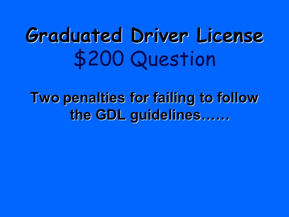 Two penalties for failing to follow the GDL guidelines……