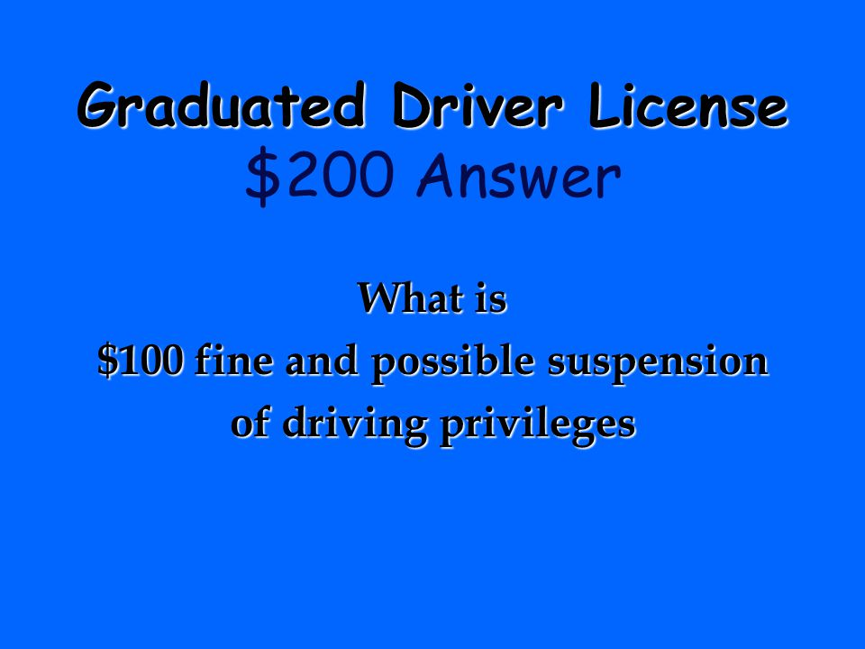 $100 fine and possible suspension