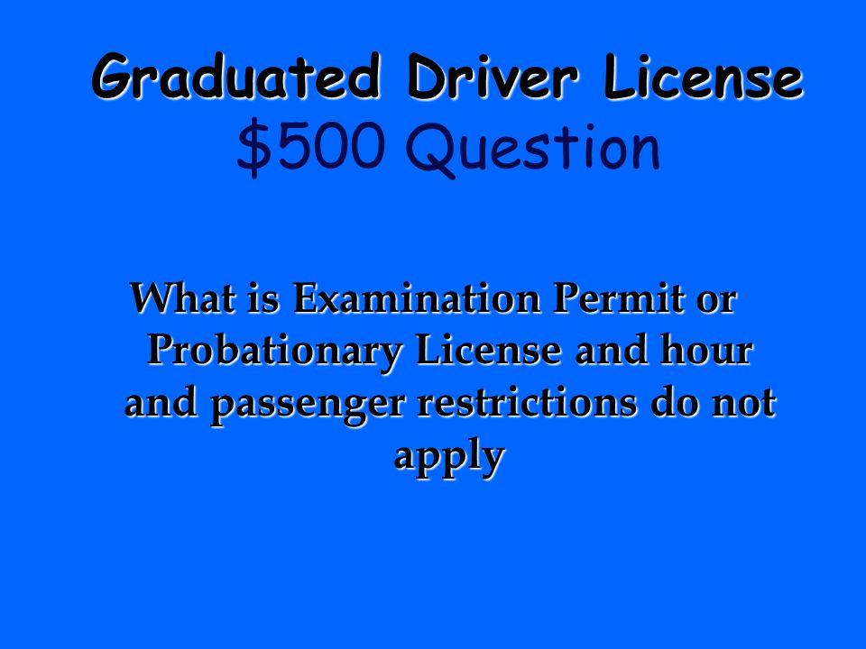 Graduated Driver License $500 Question
