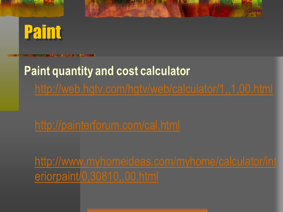 Paint Paint quantity and cost calculator