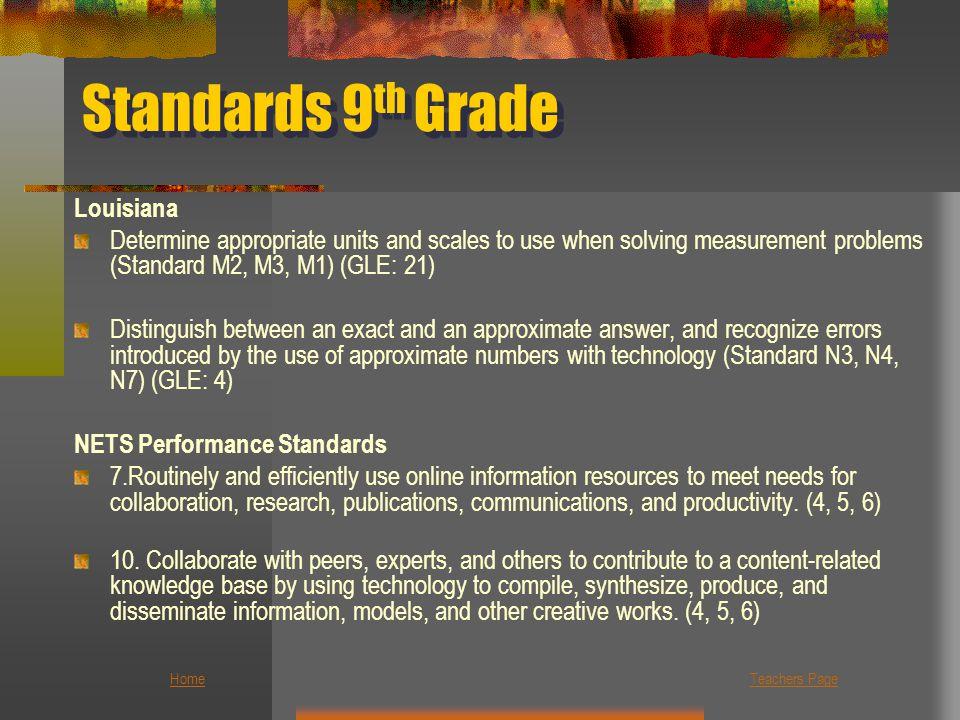 Standards 9th Grade Louisiana