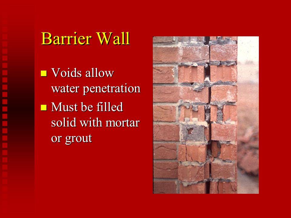 Barrier Wall Voids allow water penetration