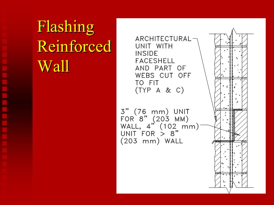 Flashing Reinforced Wall