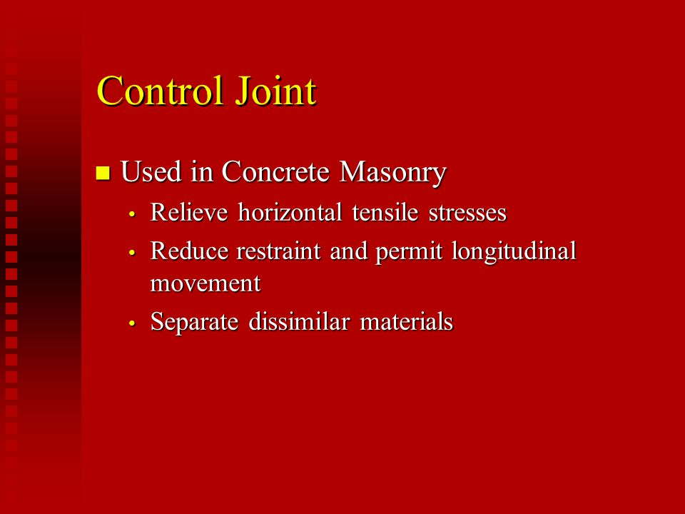 Control Joint Used in Concrete Masonry